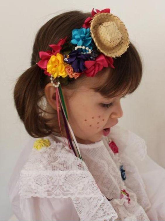tiara, festa junina, acessorios infantis, tiara de criança, tiara para criança, tiara de bebe, tiara para meninas, chapéu junina, chapéu para festa junina: