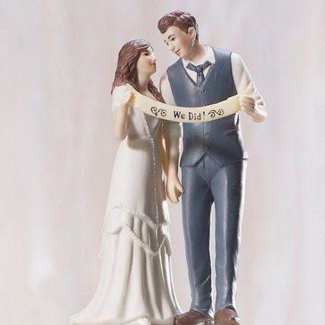 La figurine mariés à la banderole