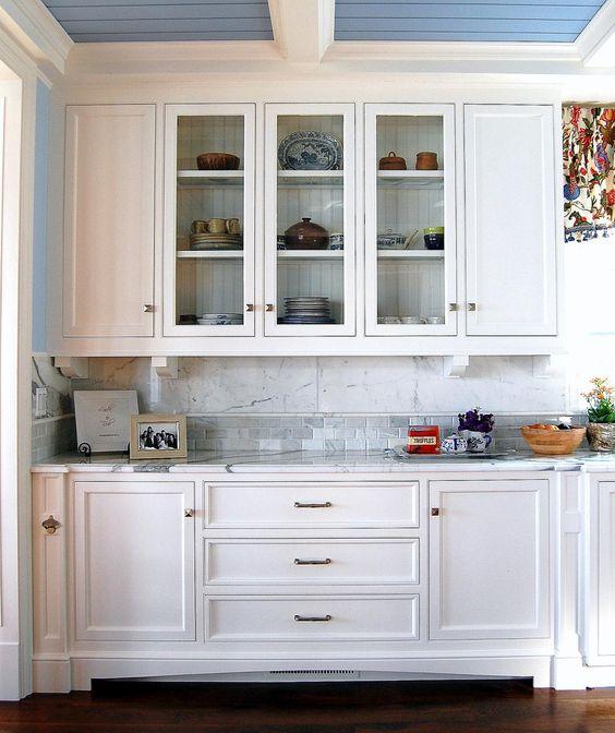 buffet, hutch, glass doors, white cabinets, kitchen buffet