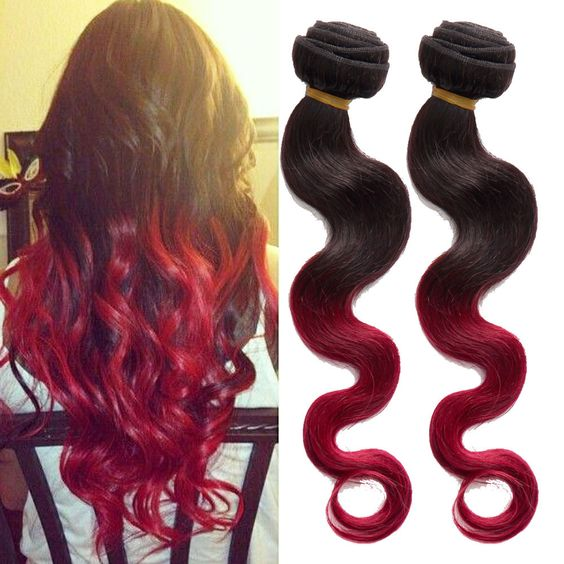"New 50g 10""-30"" Ombre Human Hair Extension 1B BURG# Body Wave Weft Bundle Hot se #wigiss #HairExtension"