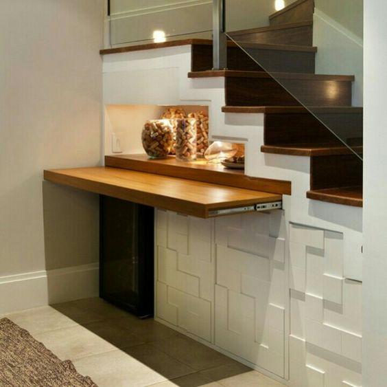 Artesanato Luminaria ~ Mesa retrátil sob a escada, vira aparador ou mesa de jantar aparador Pinterest Mesas