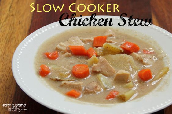 Slow Cooker Chicken Stew in the Crock Pot This is a very easy, yummy and nutritious recipe that all my kids love! #crockpotrecipe #slowcooker #chickenstew www.happybeinghealthy.com