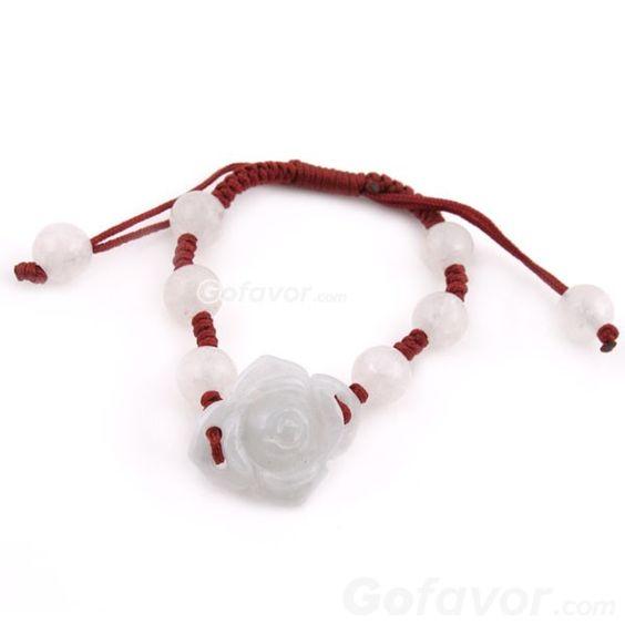 $6.99 Fashion Adjustable Flower Crystal Jade String Bracelet at online fashion jewelry store Gofavor