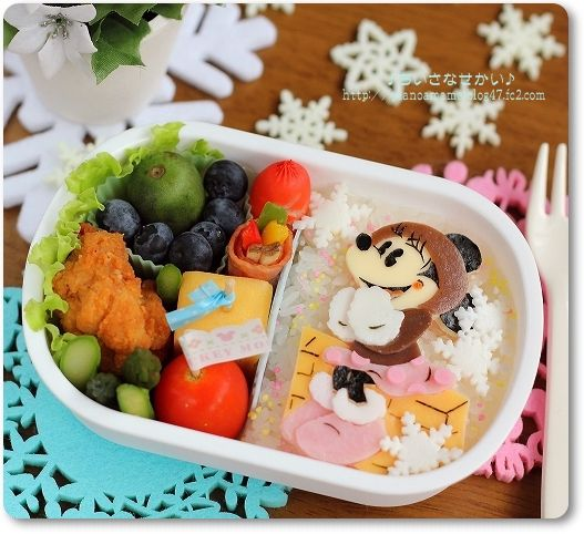 Winter Minnie Mouse bento  #food #bento #disney #minniemouse
