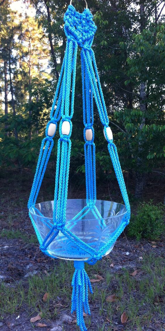 macrame hanging basket blue macrame plant hanger hanging basket holder by 1314
