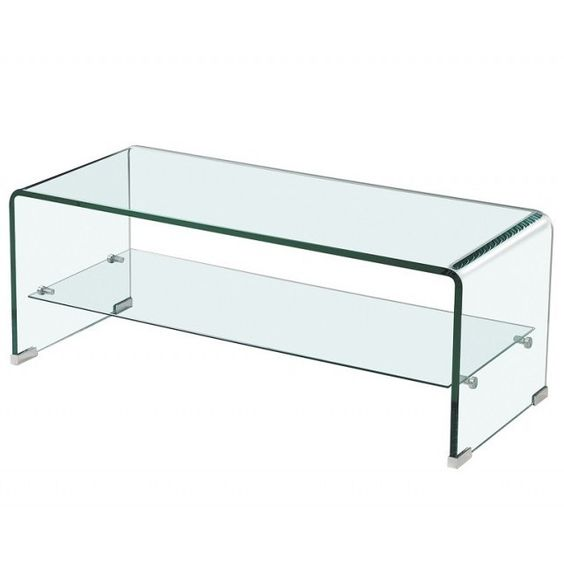 Modern Bent Glass Coffee Table With Shelf Culture