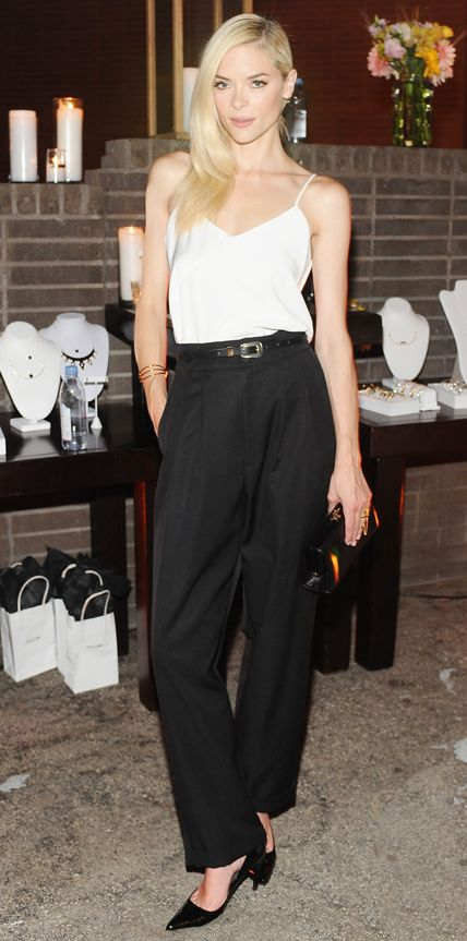 Jaime King was effortlessly chic at the launch of Parker in a white cami that she tucked into a pair of belted wide-leg pants, both by Parker, with Stella & Bow jewelry and black accessories. #InStyle