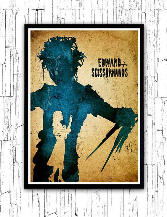 Tim Burton Edward Scissorhands minimaliste affiche