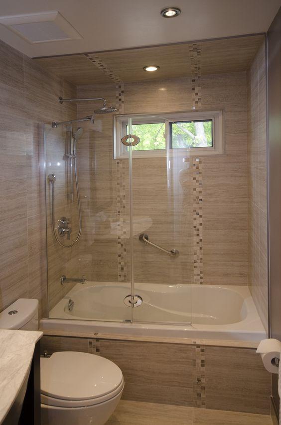 Tub enclosure with tub shield full bathroom renovations portfolio pinterest tubs and tub for Bathroom shower enclosures ideas