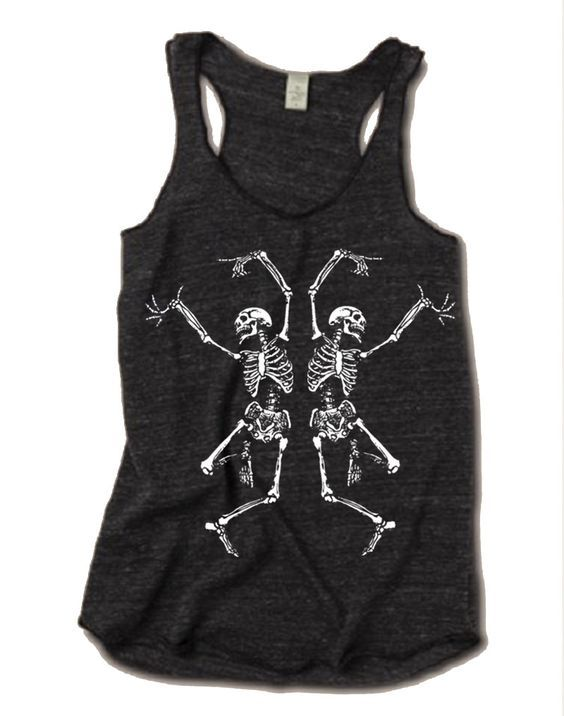Halloween Costume Shirt Gothic Black Tank Top Skeleton Halloween Shirt Women Tank Top Muscle Tank Top