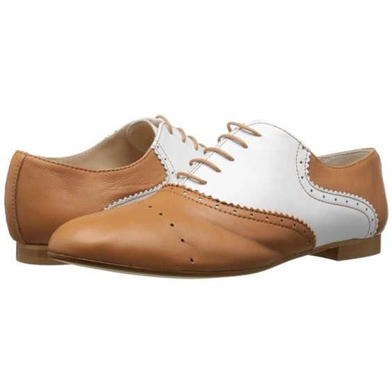 Massimo Matteo Two-Tone Oxford (Cuoio/Blanco) Women's Lace up casual... (380 BRL) ❤ liked on Polyvore featuring shoes, oxfords, stacked heel shoes, two tone oxfords, oxford lace up shoes, 2 tone shoes and two tone oxford shoes