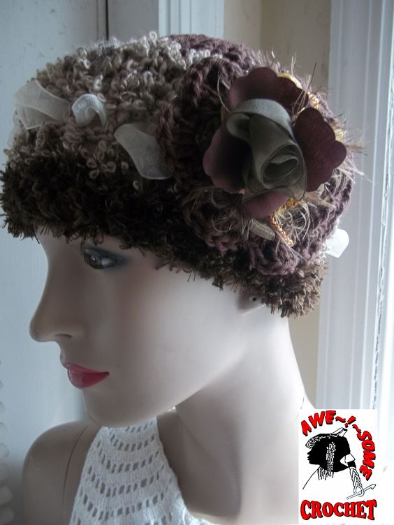 ((SOLD))  Johanna #Hat with lovely ribbon  embellishments and textural fiber treats -- AWE!SOME #CROCHET By Gina RENAY ImaGINAtions DAY 102.