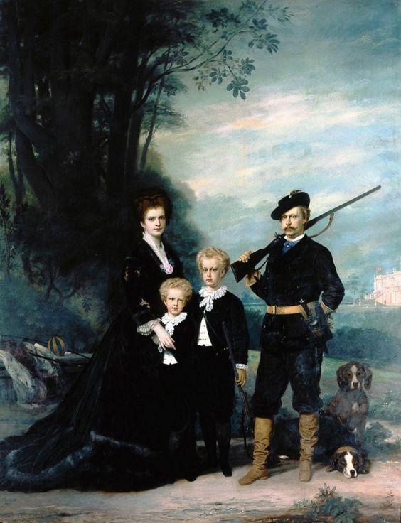 A família real portuguesa em dia de caçada, Joseph Layraud, 1876