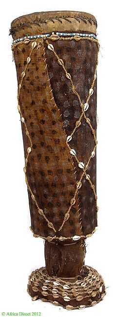 Kuba Drum with Raffia Cloth and Cowrie Shells DR Congo African   Materials: Wood, leather  Approximate Age:  mid/second half  twentieth century