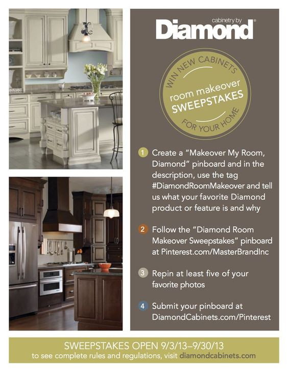 superb Win A Free Kitchen Remodel #7: Win a free room makeover for your kitchen, bathroom or mudroom from Diamond Cabinets with its Free Room Makeover Sweepstakes on Pinterest.