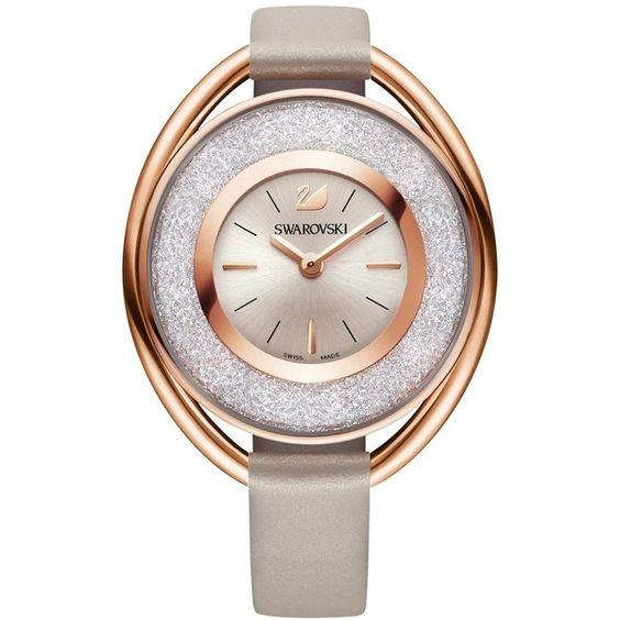 Swarovski Women's Swiss Crystalline Calfskin Leather Strap Watch 37mm (£240) ❤ liked on Polyvore featuring jewelry, watches, no color, swarovski jewellery, swarovski watches, swarovski jewelry and polish jewelry