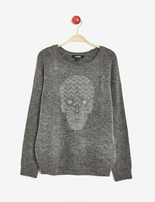 pull motif tête de mort gris anthracite chiné