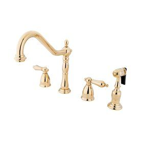 Elements of Design New Orleans Polished Brass 2-Handle High-Arc Sink/Counter Mount Traditional Kitchen Faucet Side Spray Included