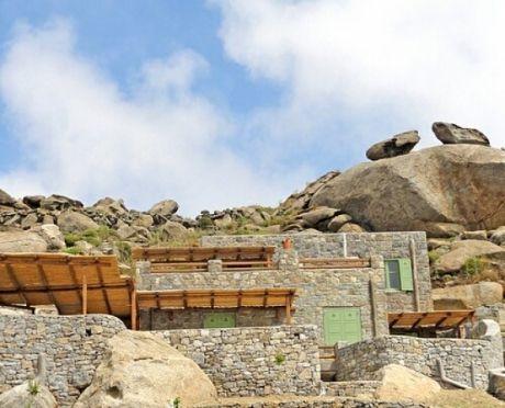 Stylish stone villa for sale on the Island of Mykonos, Cyclades, Greece.  viewofwater.com