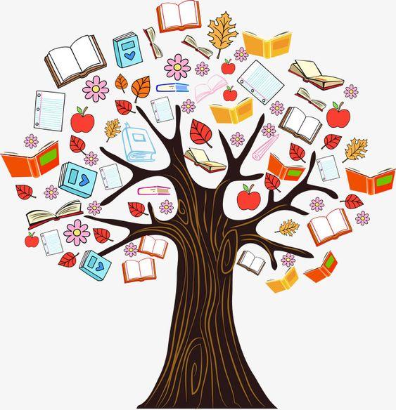 Gráfico de vetor de árvores coloridas ilustrações de Livros,Livros de ilustrações coloridas.,Vector ilustração de Livros coloridos, árvore,Livros para colorir a árvore de conhecimento