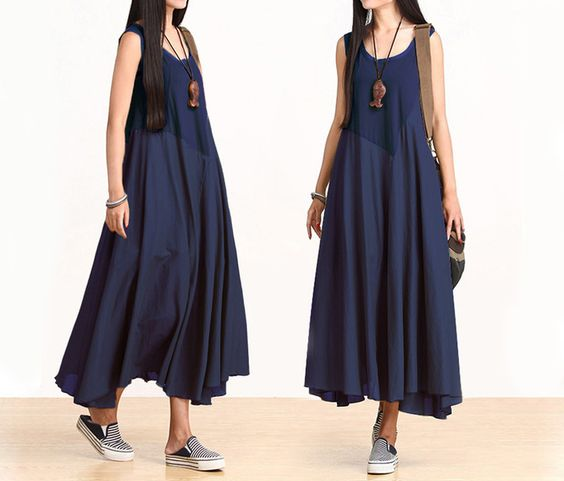 Donna cotone Patchwork swing Maxi Dress  di MissJuan su DaWanda.com