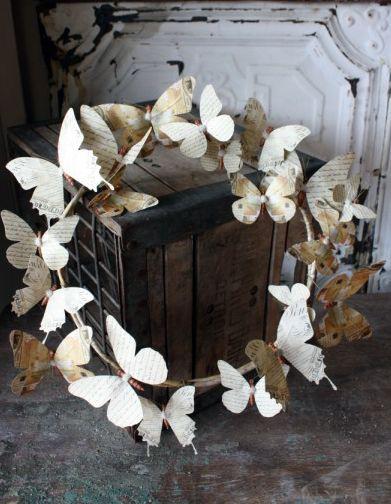 butterflies: Paper Craft, Papercraft, Paper Butterfly, Wreath Idea, Diy Craft