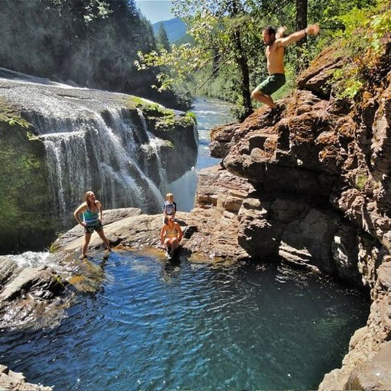Lower Lewis River Falls, Skamania County, Washington — by Hilly Holiday. Jumping the falls! Photo credit: B.Paxton