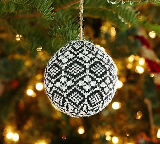 Black Fair Isle Ball Ornament | Pottery Barn