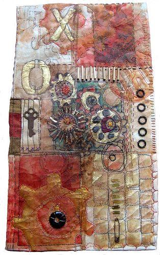 Teabags + stitching by  Jane LaFazio inspired by Judy Coates Perez http://judyperez.blogspot.com/