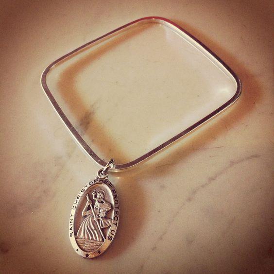 Square Silver Bangle St Christopher Medal Blessings