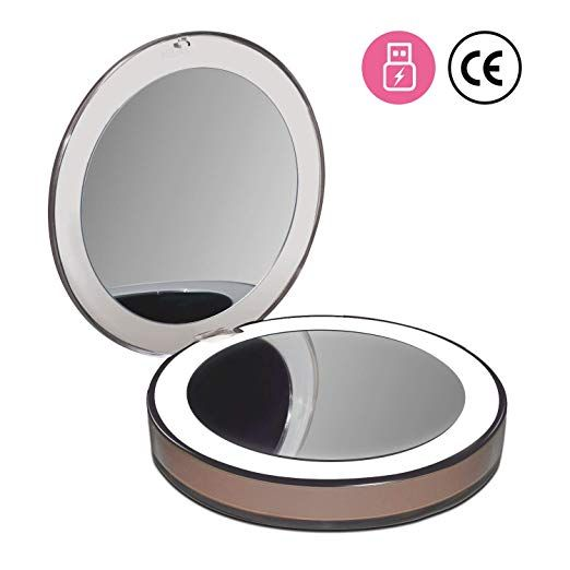 Netzu Dimmable Led Lighted Travel Makeup Mirror With Usb Charge 1x 3x Magnification Compact Portable Folding Travel Makeup Mirror Makeup Mirror Dimmable Led