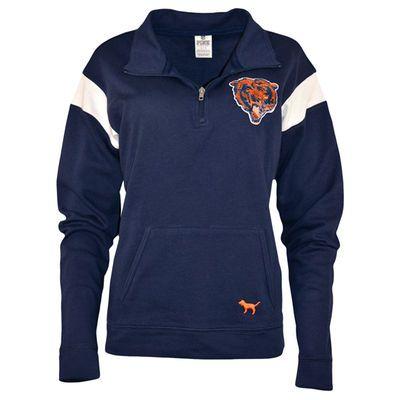 Women's Chicago Bears PINK by Victoria's Secret Navy Bling Half-Zip Pullover Jacket
