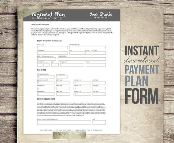 photography payment plan form template - financial contract, Invoice templates