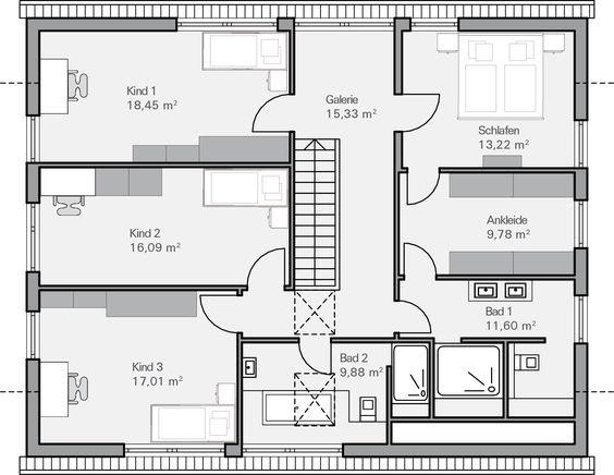 Grundriss dg ohlig grundrisse pinterest haus und modern for Hausplan einfamilienhaus