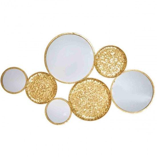 Gold Wall Decor, Gold Circles Mirror Wall Decoration
