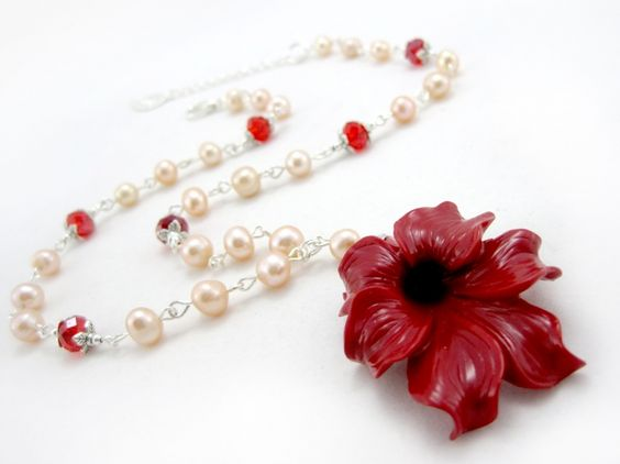 Valentine Bloom $27.00 - Ladies freshwater pearl necklace. Freshwater pearls, Swarovski crystal beads, resin flower pendant, and Tibet silver on silver plated wire.