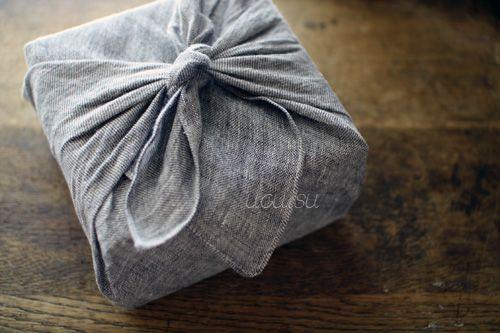Soft Linen Handkerchief as furoshiki for small gifts