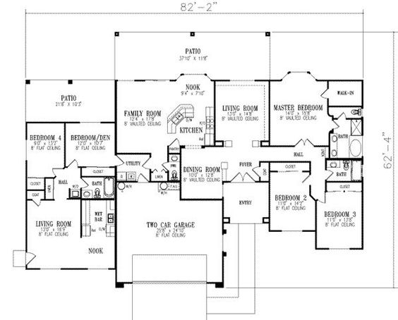 single story, in-law set up. Switch the living areas and bedrooms on the in law unit and it makes a lot more sense.
