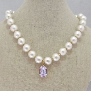MiyabiGrace: A Violet in Snow Mountain : Cotton Pearl  Necklace with a Violet Swarovski Crystal. Pendant is removable! Ideal for elegant and wedding occasions. $98 バイオレットスワロフスキー付コットンパールネックレス ペンダント取り外し可能 #bridalnecklace #cottonpearlnecklace #bridesmaidjewelry #bridaljewelry #pearlnecklace #bridalnecklace #necklace #bridesmaidnecklace #swarovskinecklace #コットンパール #コットンパールネックレス #vegan #veganjewelry #veganpearlnecklace #veganpearl #vegannecklace