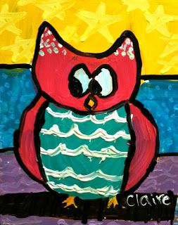 Sleepyhead Designs Studio: Painting Owls Folk Art Style kids' owls....nice colors