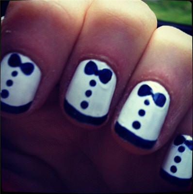 adorable!: Tux Nail, Bowtie, Nail Design, Tie Nail, Tuxedo Nail
