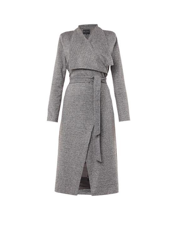 Duster coat met visgraatmotief