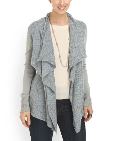 Ribbed Collar Open Cardigan