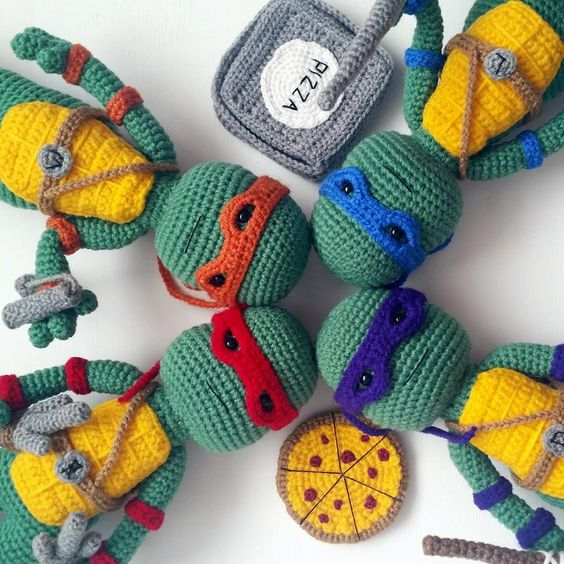 "A[mi]dorable Crochet: Teenage Mutant Ninja Turtles (13"" tall) - FREE crochet pattern includes pizza, nunchuks, swords etc. SPLINTER pattern coming soon."