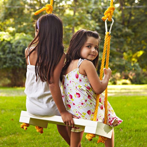 Catch a breeze with the gentle back-and-forth motion of this outdoor rope swing. It's like child's play to make.