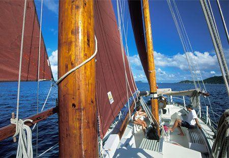 Yacht cruising in the BVI