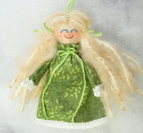 Tiny Handmade Rag Doll Blonde in Green