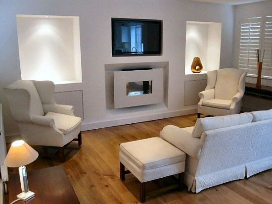 Living room with tv above fireplace decorating ideas for Alcove ideas decoration