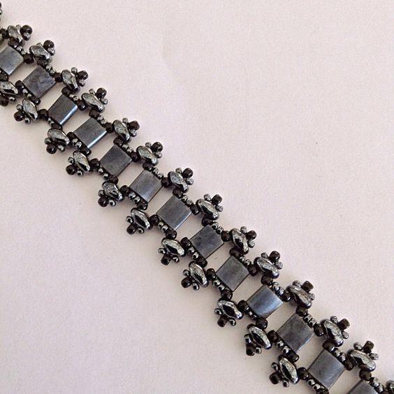 Black Beaded Bracelet Hematite And Blue by desertshinejewelry