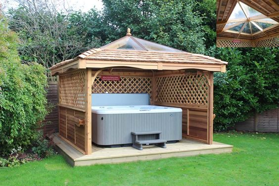 Hot tubs tubs and hot tub privacy on pinterest for Diy hot tub gazebo